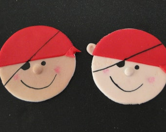 Pirate fondant cupcake toppers