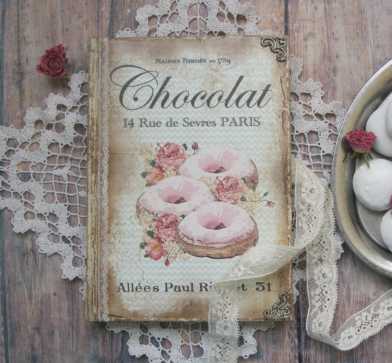 Donut recipe book receipt book vintage style recipe book - Style shabby chic recup ...