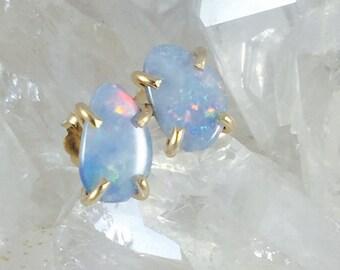 Opal Earrings, Opal Studs, Australian Opal Earrings, Blue Studs, Blue Opals, Blue Earrings, Blue Gemstone, Gemstone Earrings,Stone Earrings