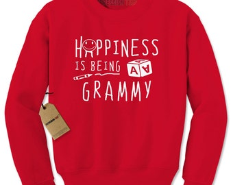 Crewneck Happiness is Being A Grammy Long Sleeve Mothers Day Sweatshirt #1384 by Expression Tees Trending Clothing / Apparel USA Seller