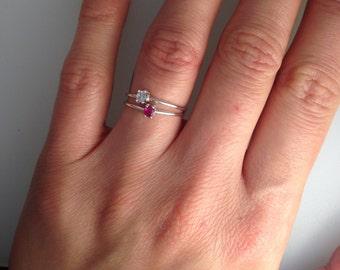 Medium Gem Ring with Claw Set 2.75mm Semi Precious Stone