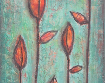 "Mixed media painting, original acrylic art, flower pods, green orange red ""Pods of Flame"""