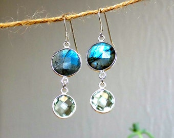 Labradorite and Green Amethyst Bezel Set Sterling Silver Earrings