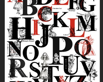 Alice In Wonderland Alphabet Print – Alice's Alphabet – Alice's Adventure Phonic Alphabet Print with Characters