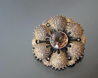 THEODOR FAHRNER. Art Deco Daisy Flower Brooch. Silver Sterling 925 14k Gold Washed