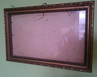 Vintage Picture Frame, wood gold frame, Shabby Chic