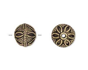 Antiqued Gold Bead, Filigree Bead, Gold Plate Brass, Tribal Nomad, 12mm, 2 each, D797