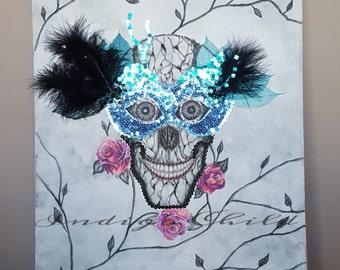 Art Multi-Media Drawing Masquerade Skull Drawing