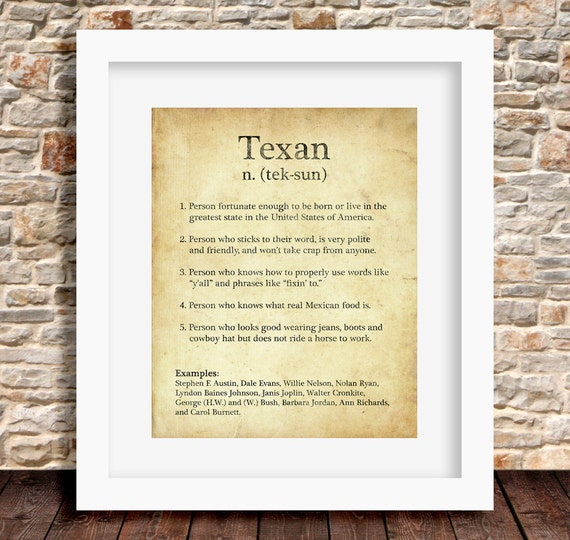 Texan definition on dictionary page brown rustic home wall art like this item stopboris Choice Image