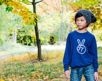 Peace sign toddler raglan, birthday shirt, peace hand, peace fingers, unique toddler gift, hipster baby clothes, trendy kids t-shirt, INDIGO
