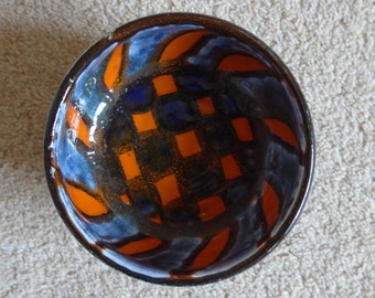 Poole Pottery Delphis hand-painted footed bowl, 1960s vintage retro