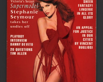 Mature Vintage Playboy Mens Girlie Pinup Magazine : February 1993 Stephanie Seymour VG White Pages Intact Centerfold