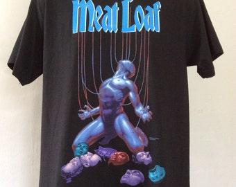 Vtg 1993 Meat Loaf T-Shirt Black L 90s Classic Rock Singer