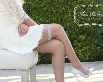 GlamGarters Wedding Bridal Leg Garters Stephanie Garter Crystal Rhinestone Lace Set with Toss Garter