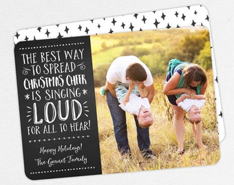 Family Christmas Cards, Family Holiday Cards, Elf Christmas Cards, The Best Way to Spread Christmas Cheer is Singing Loud for All to Hear