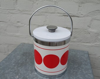 Italian vintage 70 white with red spots  ice bucket