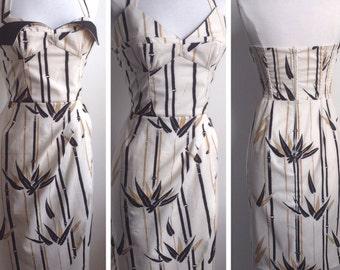Petal Bust 50s inspired Sarong Dress in Shaheen Bamboo Print