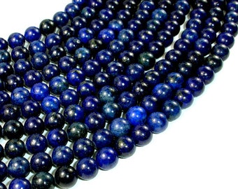 Lapis Lazuli Beads, Round, 8mm (8.5 mm), 15 Inch, Full strand, Approx 47 beads, Hole 1 mm (298054003)