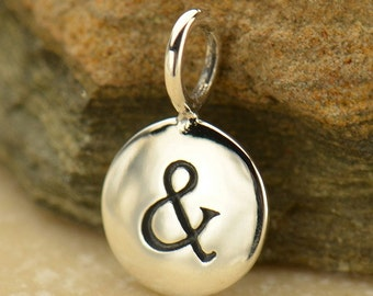 Small Sterling Silver Ampersand Charm Disk