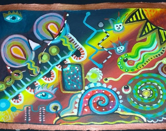 abstract, naive painting with human and snail