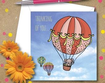 Thinking of you greetings card. Hot air balloons.