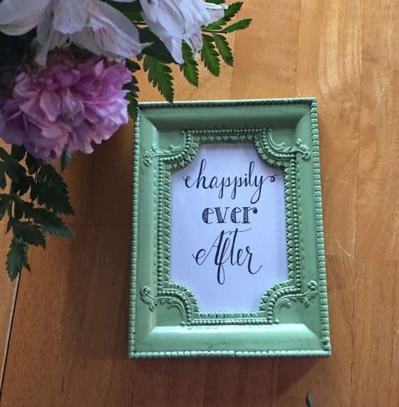 Wedding Or Bridal Shower Gift Framed Quote Happily Ever