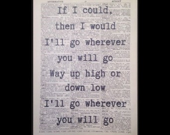 "Charlene Soraia ""Wherever You Will Go' Lyrics Print Vintage Dictionary Wall Art The Calling Love Romance Quirky Cool Funky Music Song"