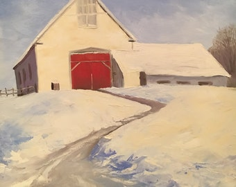 Original oil painting - White Barn, Dover MA