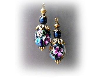 Dark navy blue Lampwork  petite drop earrings, clip on or pierced