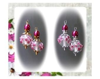 Deep Rose Pink Lampwork  petite drop earrings, clip on or pierced