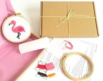 Modern Cross Stitch Kit - Flamingo - For Beginners - Easy Cross Stitch Pattern