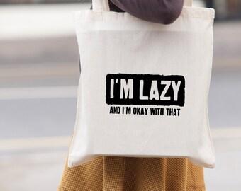 I'm Lazy Gym tote bag - canvas tote shopping bag - shoulder bag - beach tote - canvas tote bag -  Market Bag