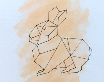 Original A5 Geometric Rabbit/Peach Background Art