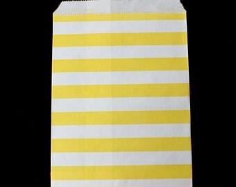 20 Wedding Candy Bags, wedding favor bags, yellow and white stripe favor bags, wedding favors, goodie bags, candy bags, wedding bags