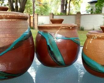 Vintage pottery canisters by potter artist Ruth G Calhoun Southwestern pottery, vintage Southwest,