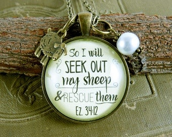 So I Will Seek Out My Sheep and Rescue Them Scripture Bible Verse Faith Necklace Sheep Charm Christian Gift for Women
