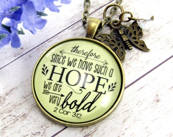 Since We Have Hope We Are Bold Bible Verse Christian Sayings Brave Necklace Pendant Hope Jewelry Encouragement Gift Infertility