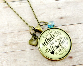 Water Necklace Bible Verse Jewelry Prov 27:19 Life Reflects the Heart Christian Gifts for Women Scripture Ocean Pendant