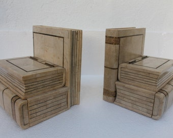 Pair Of Maitland  Smith  Tessellate  Stone Book Boxes -Bookends.