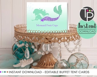 MERMAID FOOD LABELS, Instant download Mermaid Buffet Tent Cards, Mermaid Party, Print yourself Mermaid, Edit with Free Adobe Reader