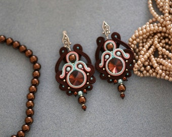 Soutache brown  chandelier earrings lux furniture amazing