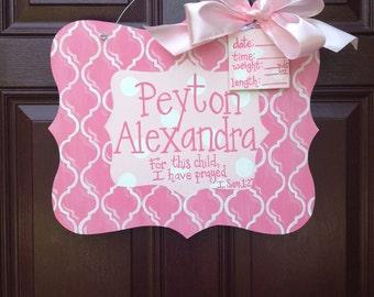 Girl Hospital Door Hanger/Baby Girl Door Hanger/Personalized Baby Gift/Baby Shower Decor Girl