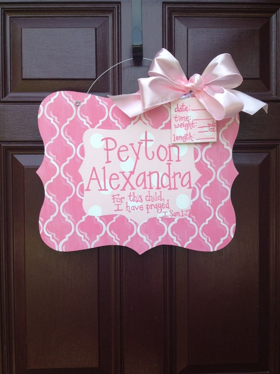Girl hospital door hanger baby girl door hanger personalized for Baby girl hospital door decoration