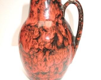 414-16 Red SCHEURICH, West German pottery, 60s