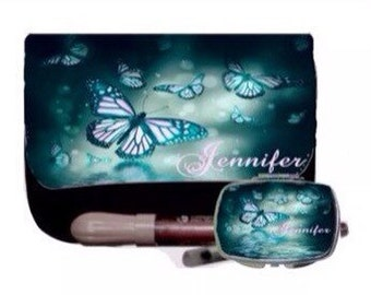 Personalized Custom Cosmetic Make up Bag & matching mirror-  Present, Birthday gifts, Bridesmaids, Wedding, Dance butterflys