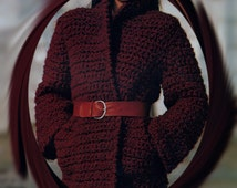Instant PDF Download Vintage Crochet Pattern to make a Ladies Quick Easy Edge to Edge Bulky Boucle Jacket Coat or Cardigan Size 10-12