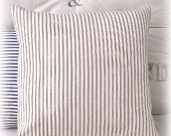 Striped Pillow Cover, Beige, Ticking Stripe, Throw Pillow, Accent Pillow