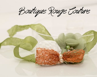Inspired by nature, copper and green tie back, Photography prop, rolled ribbon roses, copper, green, limited edition, newborn baby prop,