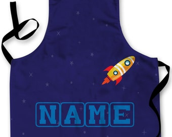 Personalised Space Rocket Design add your own name Childrens Apron Baking Cooking Painting Water Play Arts & Crafts Made In Yorkshire