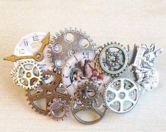 Barrette steampunk Alice and the White Rabbit with COGS and gears